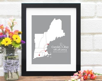 New England Travel Map, Personalized Wedding Gift, Anniversary Map, Gift for Him, Commemorate Vacation, Road Trip - 8x10 Art Print