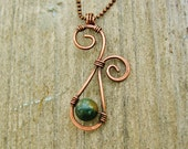 Hammered Copper and Fancy Jasper pendant wire wrapped in antiqued copper - earthy pendant necklace