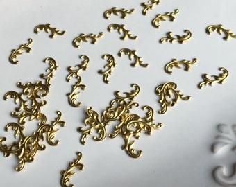 Brass Leaf Embellishments, Swirly Brass Stampings, Jewelry Findings, Jewelry Embellishments, Etsy, Etsy Jewelry, Mixed Media Supplies