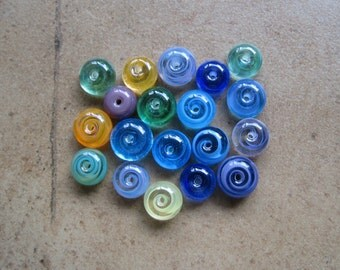 Lampwork Beads - SueBeads - Spacer Beads - Wispy Spacer Beads Grab Bag Set - Handmade Lampwork Beads - SRA M67