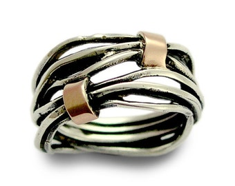 Silver gold ring, wire wrap band, unisex ring, two toned ring, unisex ring, wide band,  wrap ring, wedding band - Love of my life R1514G