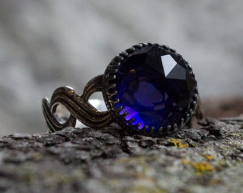 Sterling silver ring, oxidized ring, silver stone ring, engagement ring, amethyst ring, crown ring, infinity band - Precious time R2155