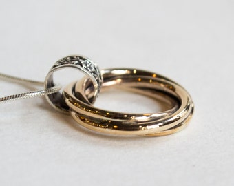 Twotone pendant, Silver Gold necklace, circles pendant, modern jewelry, unique necklace, boho chic necklace, simple necklace - Endorse N2019