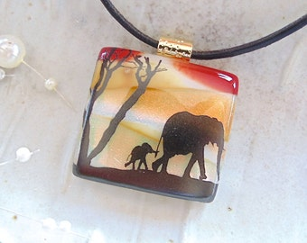 Dichroic Glass Pendant, Necklace, Fused Glass Jewelry, Elephant, Necklace Included, A6