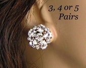 Bridesmaids earrings, Crystal post small stud earrings, Bridesmaids Jewelry, Set of 3, set of 4, Set of 5 Bridesmaids Gifts