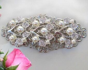 Wedding Barrette, Pearl Hair clip, Bridal Hair Comb, Ivory Pearl, Bridal hair Clip, Bridal Barrette, Silver & Crystal, Pearl Barrette