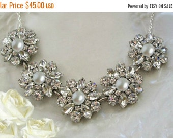 Sale Wedding Statement Necklace,  Ivory Pearl or White Pearl,  Silver and Crystal, Bridal necklace, Statement Jewelry, Pearl wedding necklac