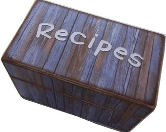 Recipe Card Box, Index Card Box, Decoupage Wooden Box, Holds 4x6 or 3x5 Cards, Cottage Rustic Chic, Blue Gray Budget Friendly, READY TO SHIP