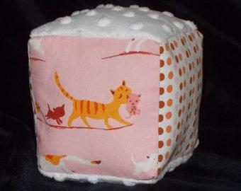 Pink Kitties Fabric Block Rattle Toy