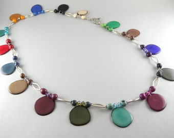 Eco Friendly Tagua Nuts, Acai Seeds, Swarovski Crystal, Handmade Sterling Sliver, Long Necklace with Free USA Shipping