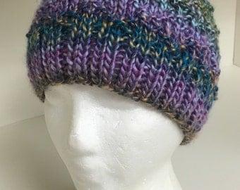 Wool Beanie Hat Handknitted