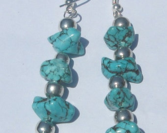 turquoise nugget stack pierced dangle hand made wire wrapped earrings affordable unique by Ziporgiabella