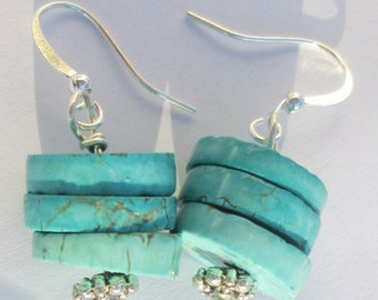 rustic turquoise rounds with silver tone detail beads handmade wire wrapped pierced dangle earrings unique affordable