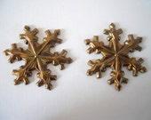 Pair Vintage Brass Snowflake Stampings