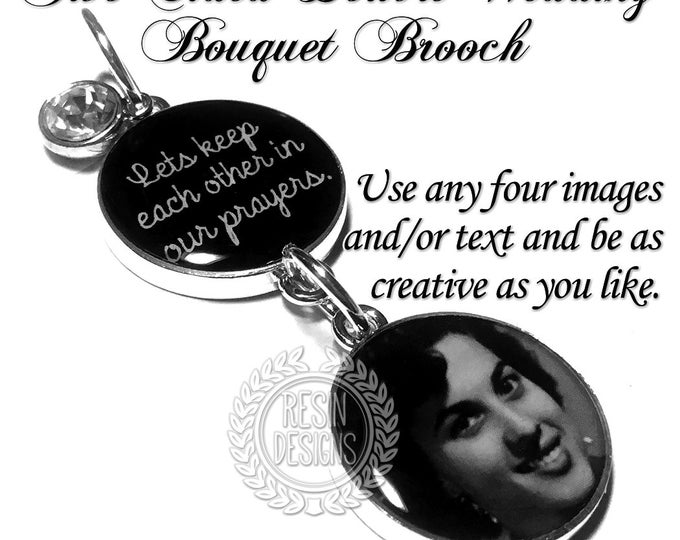 Personalized Wedding Bouquet Charm, Wedding Brooch, Bridal Gift, Memorial Charm, Gift for Bride, Bridal Bouquet, Photo, Memory Charm, Brooch
