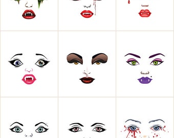 Vampire ladies cloth doll faces ready to sew fabric panel white B1W