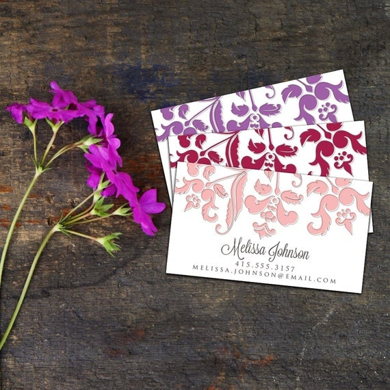 Baroque Branch Calling Card/Business Card, Set of 50 or 100 Calling Cards, Custom Business Cards, Personalized Calling Cards, Elegant Cards