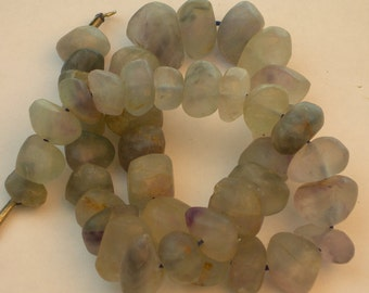 Fluorite nugget strand, light gray green 7-12 mm nuggets