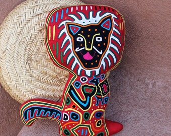 Extraordinary Museum Quality Mola Lion, Cat Pillow -  Hand Stitched, Kuna Indian Reverse Applique