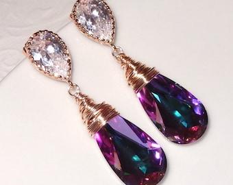 Rose Gold Swarovski Crystallized Teardrop Earrings, Vitrail Light Crystal Bridesmaid  Bridal Jewelry Peacock Purple Blue