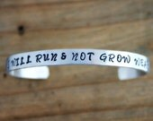 I Will Run & Not Grow Weary hand stamped cuff bracelet, Inspirational quote Isaiah 40 31, Bible Verse Jewelry, running jewelry, gift for her