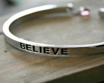 Believe Cuff Bracelet with Swarovski Crystal Bead