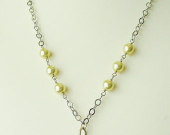 Argentium silver .935 clam shell and celery green cultured pearl necklace with shiny rhodium silver over brass chain