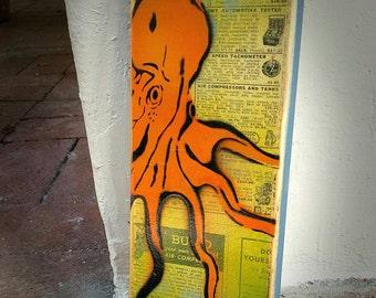 Orange Octopus Graffiti Painting on Canvas Pop Art Style Original Artwork Stencil Urban Street Art