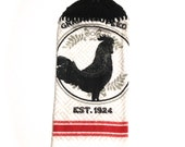 Rooster Hand Towel With Black Crocheted Top