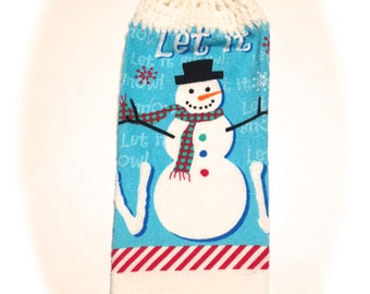 Snowman Hand Towel With White Crocheted Top- Let It Snow!