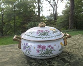 Vintage Lincoware Enameled Covered Casserole - Small Wildflowers Cookware Casserole