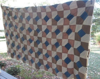 Vintage Hand Pieced Quilt Top - Spinning Spools Quilt Top - Brown Beige Blue