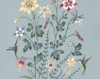 Hummingbirds and Columbine - Print
