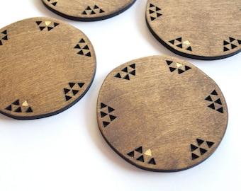 Geometric Wood Coasters Set of 4 Gold Leaf