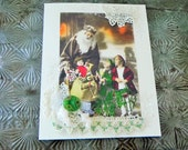 Reserved for Mary Christmas Card Vintage Santa w/ Toys & Children Handmade~Antique Glass Button~Lace~Father Christmas