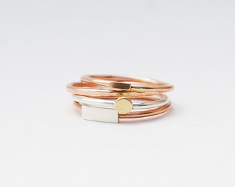 Teeny Geo Ring Stack