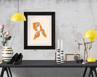 Hermes Silk Scarf Orange Fashion Illustration Art Poster