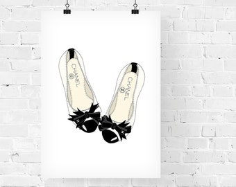 Chanel Flats Fashion Illustration Art Print