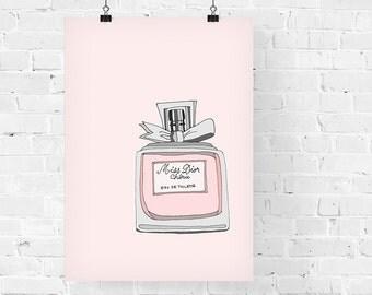 Miss Dior Cherie Perfume Fashion Illustration Art Print