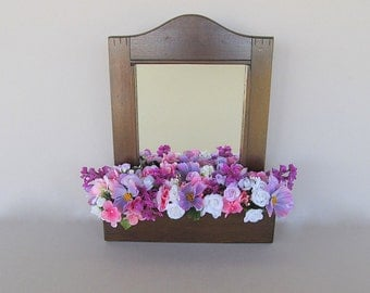 Vintage Wall Mirror, Wall Planter, Wall Mail Holder, Hanging Mirror, Rustic Planter, Hanging Flower Box, Wall Flower Box