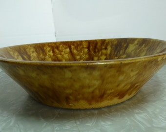 Huntington Rockingham Yellowware Spongeware Bowl Brown Tan Serving 169
