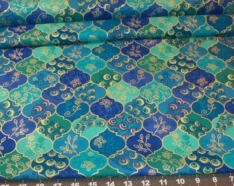 FabricFatQuarter - Peacock Feathers and Butterfly motifs - blue teal purple green metallic gold from Timeless Treasures 100o/o cotton
