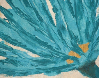 Teal Gold Beige Floral Abstract Acrylic Painting Pre Stretched Canvas Ready To Hang 9 x 12
