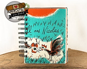 Roosters Playing Chicken - Wire-Bound Recycled Art Journal