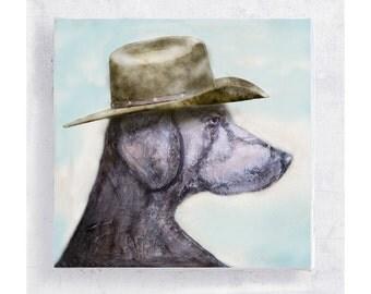 Cowboy Jake - Weimaraner Print - Dog Art - Weimaraner with a Cowboy Hat - Canvas Print on 5x5 Art Block - Animal Art -  Mini Wall Art