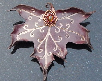 Faerie Leaf Barrette - Burgundy Maple with Swirling Copper Veins and Tiger Eye Accent