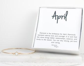 April Birthstone Swarovski Gold Filled Bangle Bracelet, Gold Bracelet, Clear Bangle Bracelet, April Birthstone Bracelet, Bridesmaid Jewelry