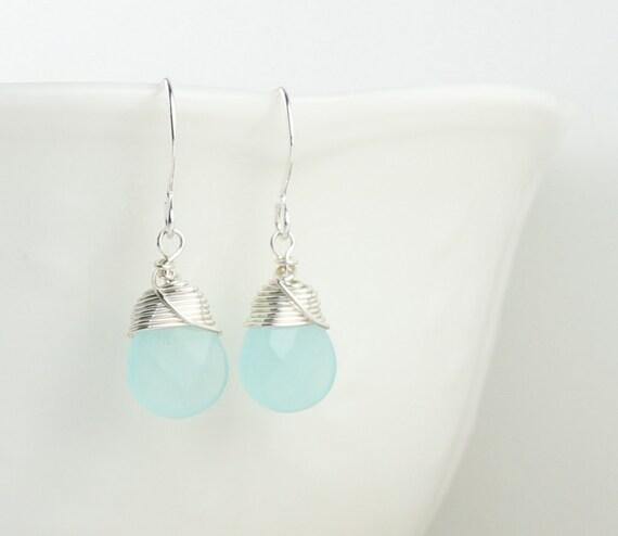Sterling Silver Wire Wrapped Earrings, Blue Sea Opal and Sterling Silver Earrings, Blue Earrings, #584