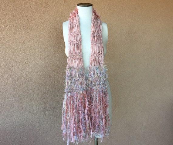 light pink scarf linen blend fringe scarf by cricketscreations