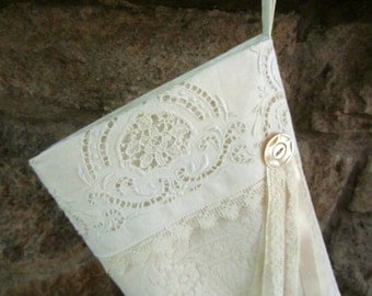 Exquisite Large Vintage Lace Stocking, Christmas stocking, Vintage Lace